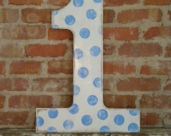 """24"""" Wooden Number 1, Distressed White with Twitter Polka Dots - all numbers many colors available"""