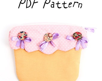 "Textile ""Cupcake"" Purse  PDF Pattern and Tutorial with Instructions, Easy Sewing Tutorial, Purse Pattern, Digital file for Instant Download"