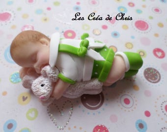 polymer clay model new boy sleeping with his best friend Bunny baby.