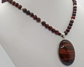 Red Tiger Eye Oval Pendant Necklace Natural Stone