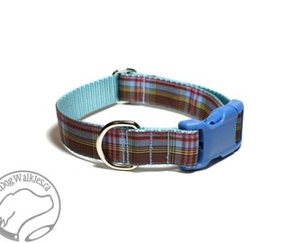 """Anderson Clan Tartan Dog Collar - Light Blue Plaid - 1"""" (25mm) Wide - Choice of size & style - Martingale or Quick Side Release Buckle"""
