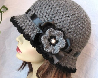 Womens Hat Charcoal Gray Crochet Cloche, Ribbon, Flower, Brim, Woman gift, Birthday Gifts for her, Weddings JE270CRF8