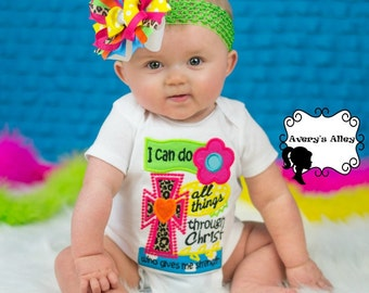 I can do all things through Christ who gives me strength - Girls Applique Shirt & Matching Hair Bow Set