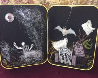 Miniature Mystery box Moonlit Dance of the Skeleton and the ghost of Will B Bach one of a kind Tiny scene in tea tin