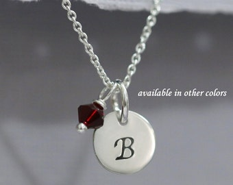 Initial Necklace with Birthstone Crystals, Birthstone Necklace, Monogram Necklace, Sterling Silver Initial Necklace, Flower Girl Necklace