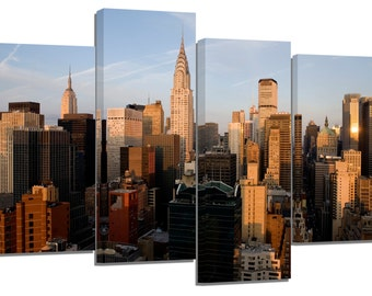 "new york manhattan/evening light/set of 4 new frames/ 32""x 20"""