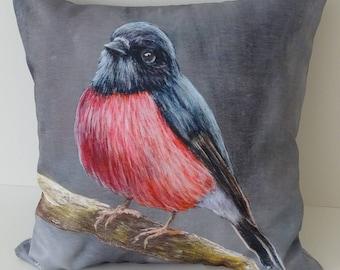 Decorative Throw Pillow - Cushion Cover - Bird Pillow - Colorful Throw- Gift for bird lover - Gift for her -  Home Decor - Pink Robin