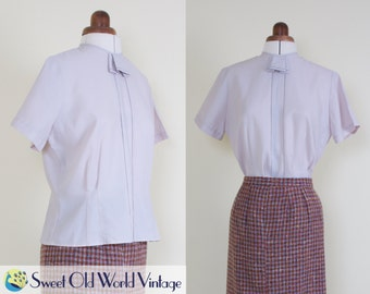 Vintage 50s Light Purple Blouse || Short Sleeve || Rayon || 1950s || Fitted || Secretary || Buttons at Back || Small-Medium, 8-10