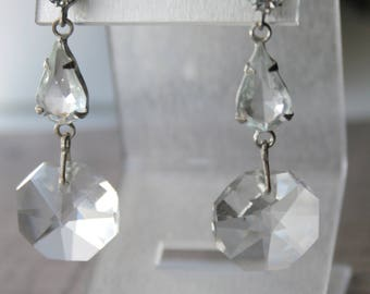 Vintage drop earrings wedding petite crystal earrings silver tone bridesmaid earrings rhinestone crystal wedding vintage crystal jewelry