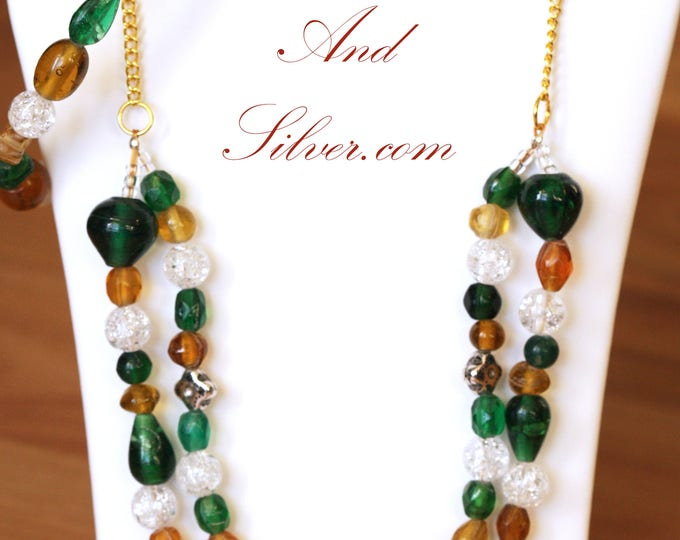 Green and Gold Glass Bead Fall Necklace, Autumn Glass Beaded Two-Strand Victorian Necklace Set, Green and Yellow Beaded Necklace Set
