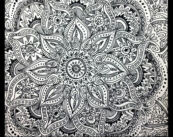 Original Zentangle Doodle Drawing - Modern Abstract Art - Pen and Ink - Floral Design - Patterns - Wall Art - Home Decor - Unique