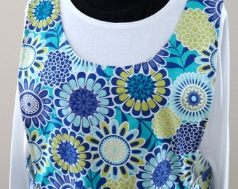 Great Grandma's No Strings Apron in a Blue Floral Print