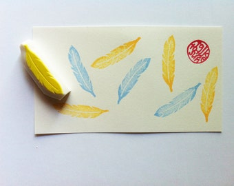 feather rubber stamp   woodland stamp   diy birthday wedding scrapbooking   gift wrapping   nature lover gift   hand carved by talktothesun