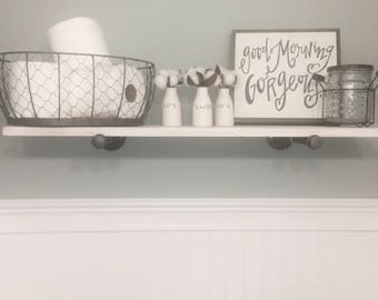 White Floating Shelves   Pipe Shelves   Industrial Shelf   Open Shelves    Kitchen Shelf