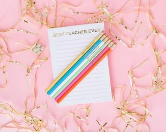 Best Teacher Ever Notepad, Magnetic list pad, Gold Foil, To Do List, Grocery List, Stocking Stuffer, Notepad, Teacher Gift, NP-03