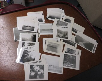 Vintage Lot of 30 Old Scenes of Mountains Rivers Photo Pictures Scrap Booking Crafts 1940's