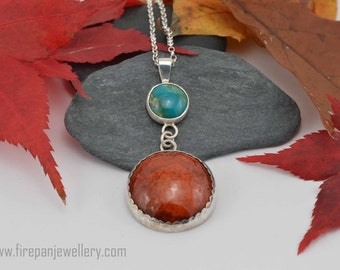 Chrysocolla + enamel pendant - sterling silver, gemstone necklace, orangy brown, blue-green, one of a kind, handmade, gift for her, unique