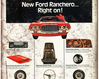 """Ford Ranchero Vintage Ad 10"""" x 7"""" Reproduction Metal Sign"""