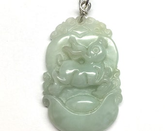 Jade rabbit necklace etsy carved jade pendant jade rabbit pendant chinese pendant chinese zodiac carved light green jade rabbit 925 sterling silver pendant aloadofball Images