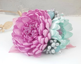 French barrette hair clip/Pink Mint flower hair clip/Kanzashi flower/Hair accessories/Hair barrette/Kanzashi hair clip