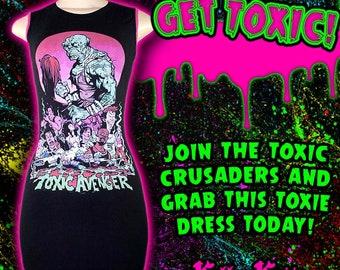 Toxic Avenger Toxie Dress Horror Merch T Shirt Horror Troma Slasher Gore Goth Hot Pink Lace Toxic Crusaders