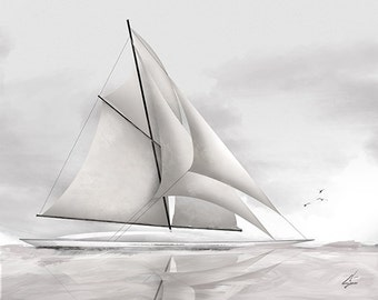 Fair Winds - 8 x 10 nautical sailing ship schooner art