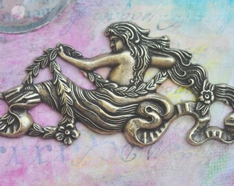 Art Nouveau Goddess Brass Ornament, Brass Ox, Brass Stampings Made in the USA