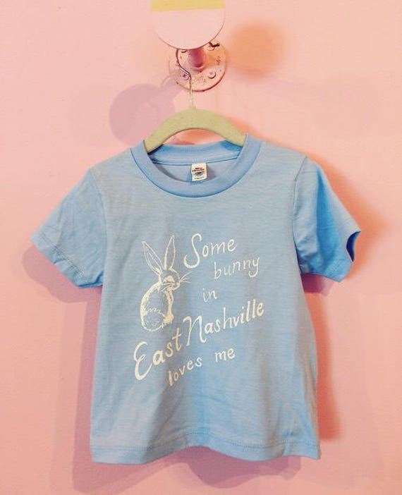 Some Bunny in East Nashville Loves Me sky blue kids tee
