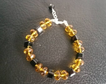 Amber and Black Austrian Crystal Bracelet