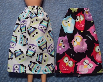 "Owl Themed Skirt for Barbie Dolls ~ Clothes for 11 1/2"" Fashion Dolls"