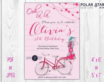 Ooh La La / Parisian Girl With Bicycle - Custom Teen Girl Birthday Invitation - Printable Digital File (065)