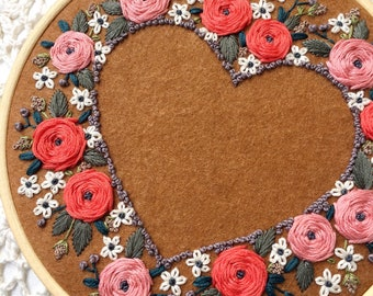 """Floral embroidered hoop art. Floral embroidery. Heart floral embroidery 6"""""""