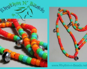 Rhythm Beads for Horses, TROPICAL PUNCH, Horse Necklace, Horse Beads, Blaze Orange Trail Tack, Speed Beads,Horse Lovers, Equestrian Tack,