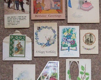 Vintage USED Greetings cards  for scrap booking or craft project.