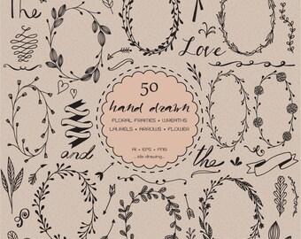 50 Hand Drawn Flowers Wedding Digital Clip Art-Wedding Flower-Floral Clipart-Wreath-Chalkboard Wedding-Rustic Flower-Invitation Card-Laurels