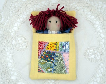 Cloth Little Pocket Rag Doll and Sleeping Bag Made From Repurposed Vintage Linens