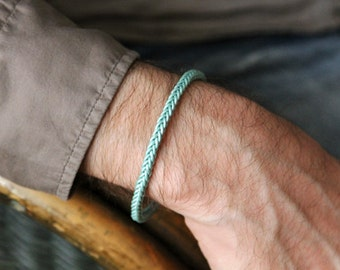 aqua leather weave bracelet for men - mens slim handwoven leather bracelet  aqua