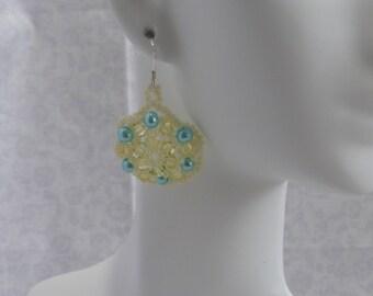 Pearl and Crystal Earrings: Teal