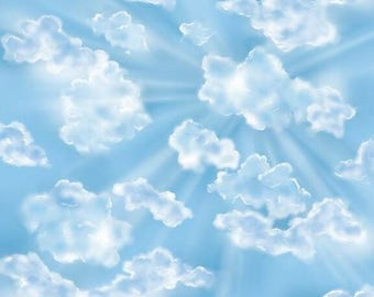 HOW GREAT Thou ART~ blue sky with  white clouds  by the 1/2 yard Quilting Treasures fabric-26202 b