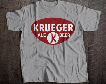 Krueger Ale Beer T-Shirt | Ringspun Unisex and Ladies Fit Tee | Vintage Bar and Brewery Label Clothing