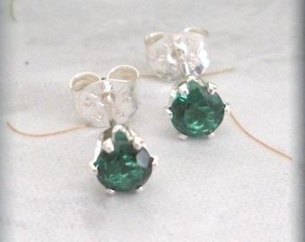 May Birthstone Earrings Emerald Stud Earings Sterling Silver Post