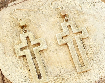 Cut Out Cross Earrings > Christian jewelry > Christian earrings > Cross earrings