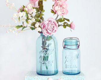Shabby Chic Roses Wall Art, Summer Garden Roses Mason Jars, Shabby Chic Decor, Floral Roses Ball Jars, Pink Aqua Flower Photos, Kitchen Art
