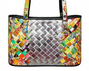 Handbag made from candy wrappers, FREE SHIPPING, Eco friendly bag, Large tote Recycled bag, vegan vegans upcycling by milo, naveh vegetarian