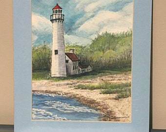 Presque Isle Lighthouse - Signed Original Watercolor - Small