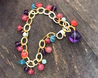 Amethyst Bracelet - Gemstone Jewelry - Gold Chain Jewellery - Carnelian, Amazonite, Apatite