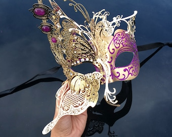 Masquerade Mask, Elegant Butterfly Mask, Theater Mask, Masquerade Ball Mask [Magenta/Pink/Purple]