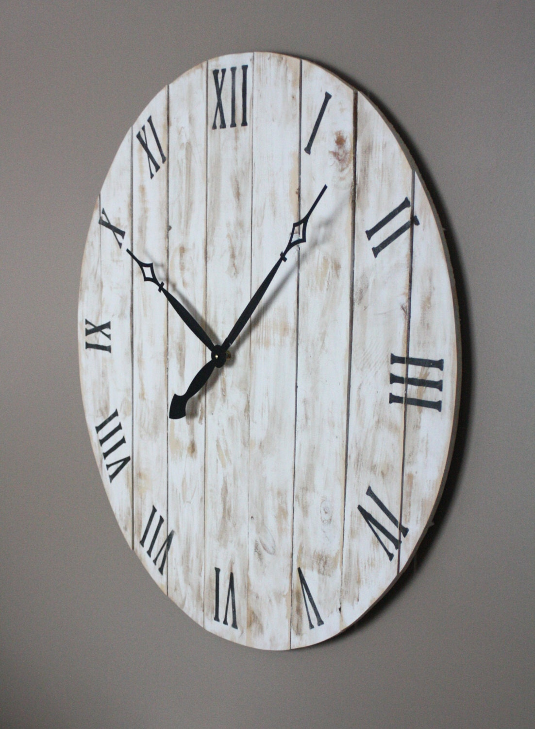 Farmhouse Style Round Wall Clock Variable Sizes 18 To