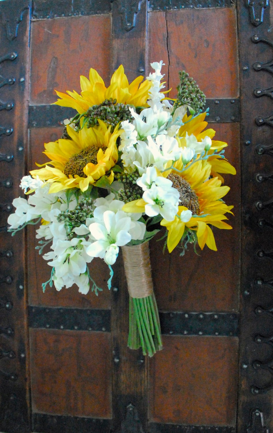 Sunflower Wedding Bouquet White And Yellow And Green Bouquet