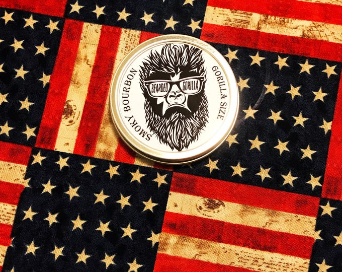 Smoky Bourbon Scented All Natural Moisturizer Beard Balm, Man Gift, Bearded Man Gift, Father's Day Gift, Mens Beard Products-GORILLA SIZE